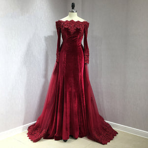 Burgundy Long Sleeves Women Velvet Prom Dresses Arabic Lace Mermaid Evening Long Gown with Removable Train