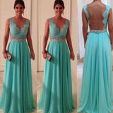 Elegant See Through Back Aqua Formal Dresses Long evening Gown,Bridesmaid Dresses with Lace ,Long Prom Dresses