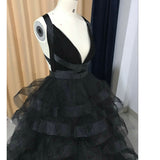 Siaoryne Black Prom Dress Ruffle Sexy Cross Back Formal Gowns