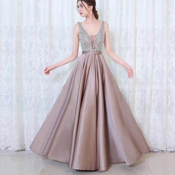 Chic Crystal Prom Dress Long Satin Graduation Dresses for Girls LP0523