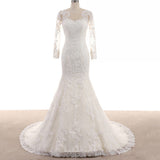 Vintage Long Sleeves Lace Wedding Dress Mermaid Bridal Gown 2018 Custom Made Vestido De Novia