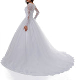 Vintage White Lace Ball Gown Princess Wedding Gown Sleeved Bridal Dresses 2018