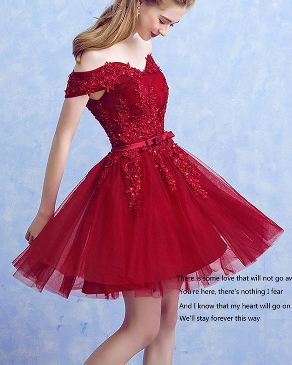 Gorgeous Appliqued Red Short Homecoming Prom Dress 2019 with Lace SP447
