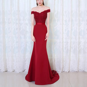 Fabulous  Red Wine Long Evening Dresses Lace Mermaid Formal Gown Vestido De Festa