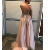 Siaoryne V Neck Champagne Crystal Beaded Prom Dresses 2018 Spring Evening Party Gowns Long