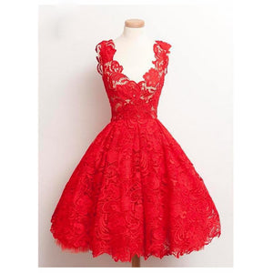 New Lace Homecoming Dresses Appliques Tea Length V-Neck A-Line Short  Girls Graduation Gown