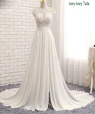 Lace and Chiffon Illusion Cap Sleeves Beach Wedding Dress boho Bridal Gown 2018