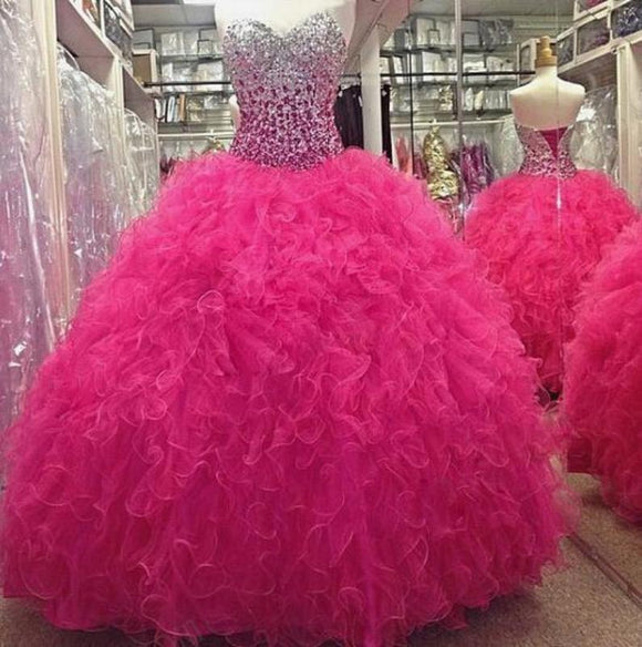 Fuchsia Pink Ball Gown Quinceanera Dress Sweetheart Beading Prom Dresses