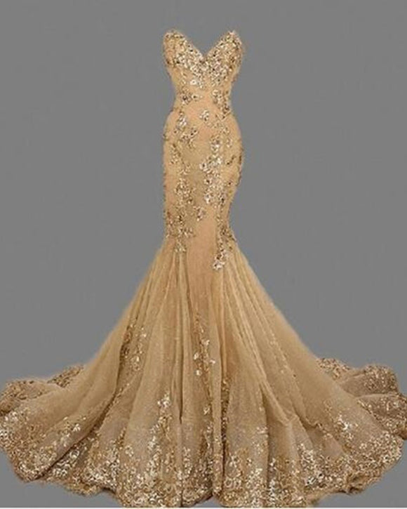 Appliqued Sequins Gold Long Evening Dresses Mermaid Sweetheart Women Evening Party Dresses LP175