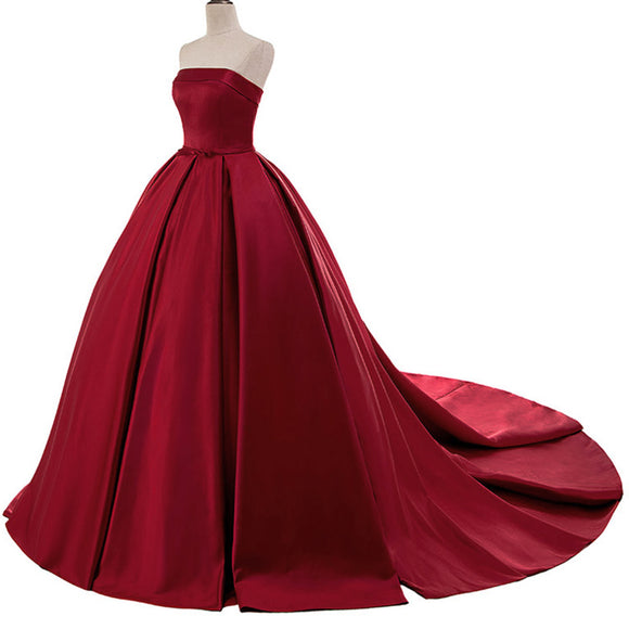Strapless Burgundy Dark Red Prom Dress Ball Gown Women 2018 Wedding Dress WD3323