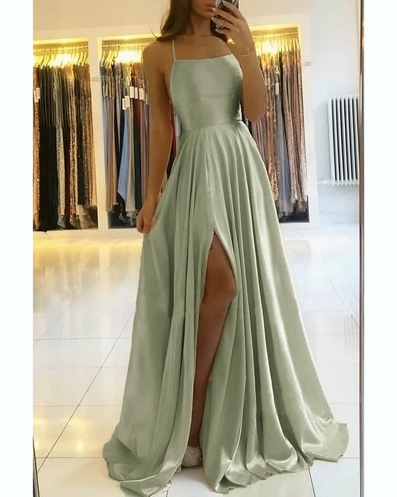 Stunning Satin A Line Slit Sage Green Prom Dresses 2021 Hater Cross Back Formal Graduation Party Gown PL104102