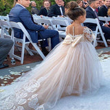 Vintage Long Sleeves Lace Ivory/Nude Little Girls Wedding Dress Flower Girl Dress 2020 FG0816