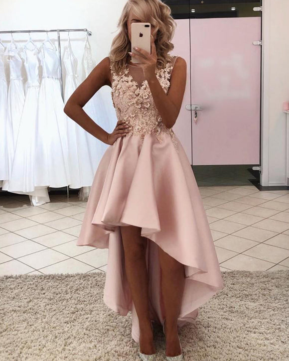 Scoop Neck Pink Prom Dress Hi lo Girls Graduation Homecoming Party Dress  with Lae appliques PL012021