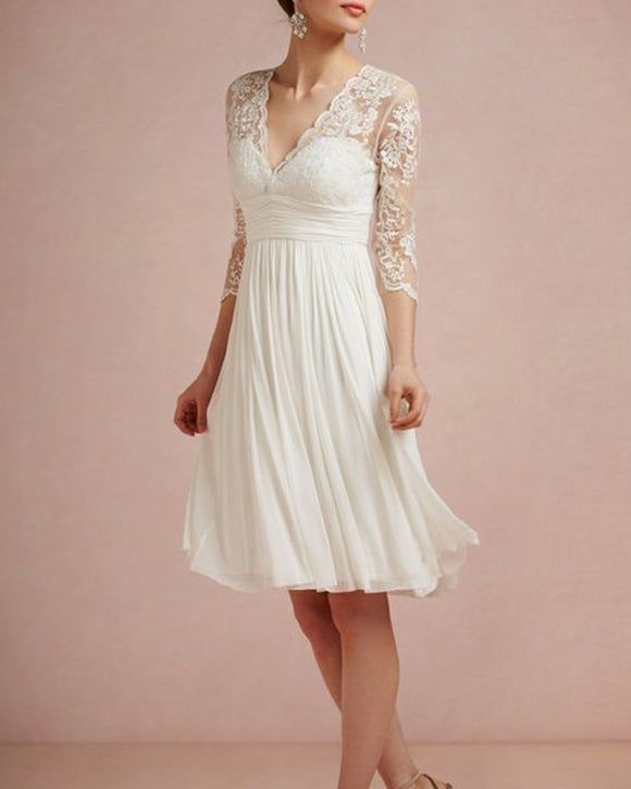 Vintage Pleats Summer Chiffon Lace Sexy V Neck 3/4 Sleeves Short Wedding Dress ,Bridal Wedding Party Dresses WD1027