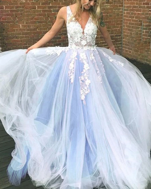 Beautiful Ivory Lace Blue Long Prom Dress Girls Formal gradutaion Gown PL01224