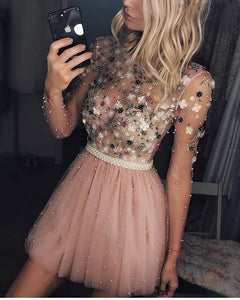 New Short Homecoming Dresses Pearls Beaded Handmade Flower Long Sleeves Prom Dresses Cocktail Dress