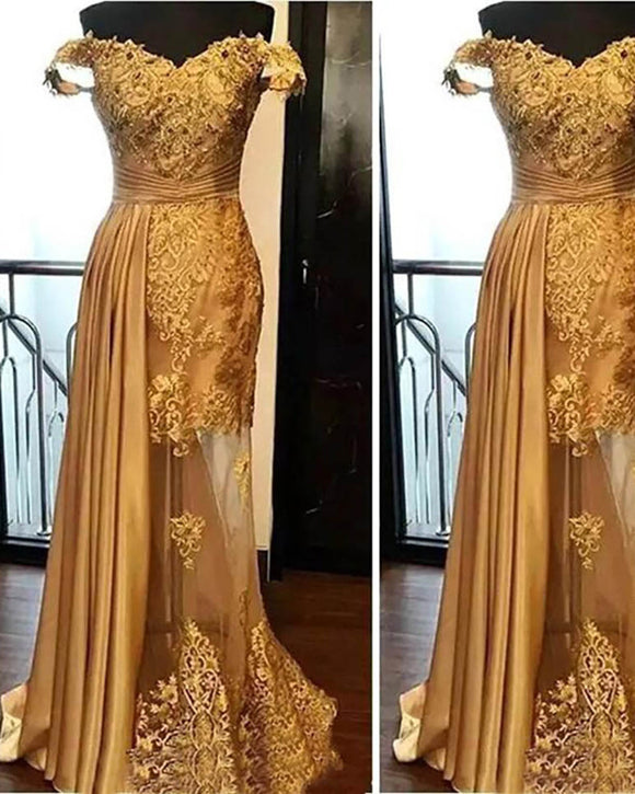 Amazing Gold Prom Dresses mermaid ,Off shoulder Lace Formal Women Wear PL1023