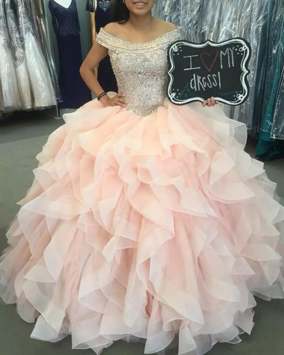 Princess Beading Pink Ruffle Organza Ball Gown Sweet 16 Dress Girls Quinceanera Prom Gown