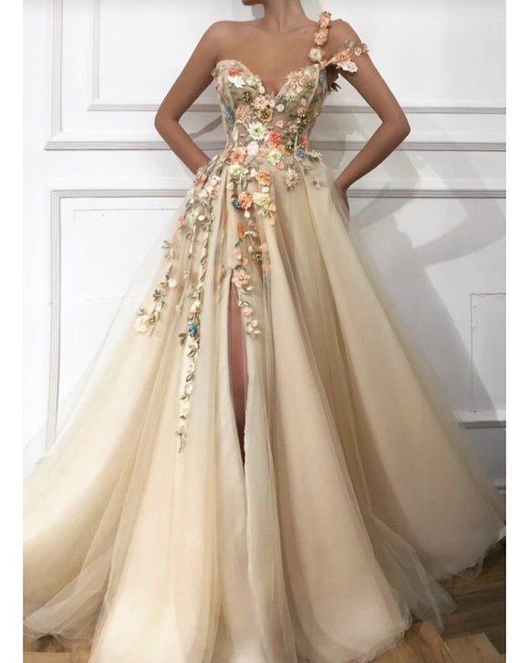Beautiful A Line Tulle Skit Formal Dress Sweet 15 Dress Off the Shoulder Beige Bude Long Floral Prom Dress with Slit Leg PL01125
