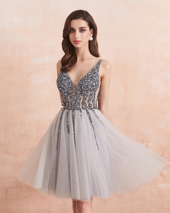 Sparkle Crystal Beaded Short Cocktail Dresses Gray Homecoming Dress Double V-Neck Sexy Shiny Mini Prom Gown robe de cocktail SP01221