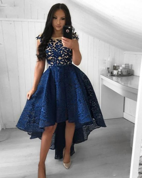 High Low front Lace Short Prom Gown Short Long Back Navy Blue Dress for Girl SP102231