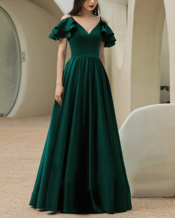 Unique Custom Made A-Line Off Shoulder Detachable Sleeves Dark Green Long Evening Prom Dress Party V Neck Formal Gown PL01123