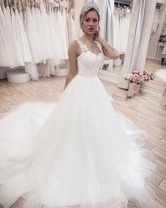 Romantic Lace Tulle V Neck Wedding Dress Women Formal Bridal Gown Court Train