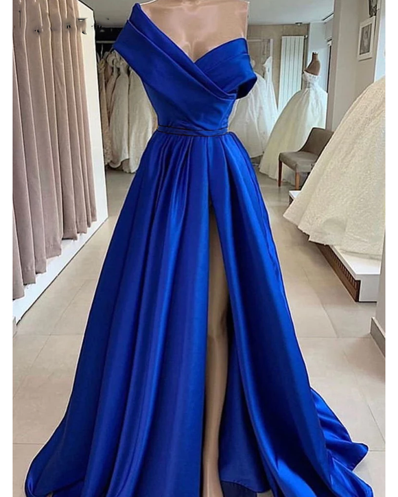 Unique A Line Satin Royal Blue Evening Dress ,Long Off One Shoulder Prom Dresses PL0805