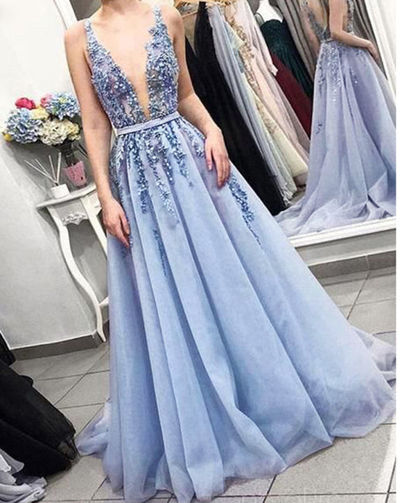 Siaoryne PL2011 Pale cornflower blue Plunge V Neck Lace Flwoers 2021 Long Prom Dress Women Evening Formal Gowns