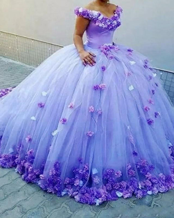 Off the Shoulder Lavender /Coral Floral Flowers Ball Gown Quinceanera Dress Wedding Gown