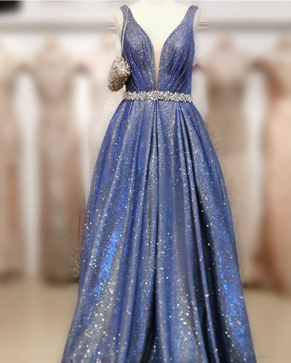 Elegant A Line Satin V Neck  Blue Prom Dresses  with Crsytal Belt Long Evening Gowns 20202