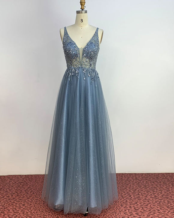 Amazing Glitter Blue V Neck Floor Length Long Prom Dress with Crystal Beaded Party Gowns