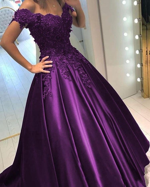 Purple Ball Gown Wedding Dress Off the shoulder Lace Quinceanera Debutante Prom Gown PL01202