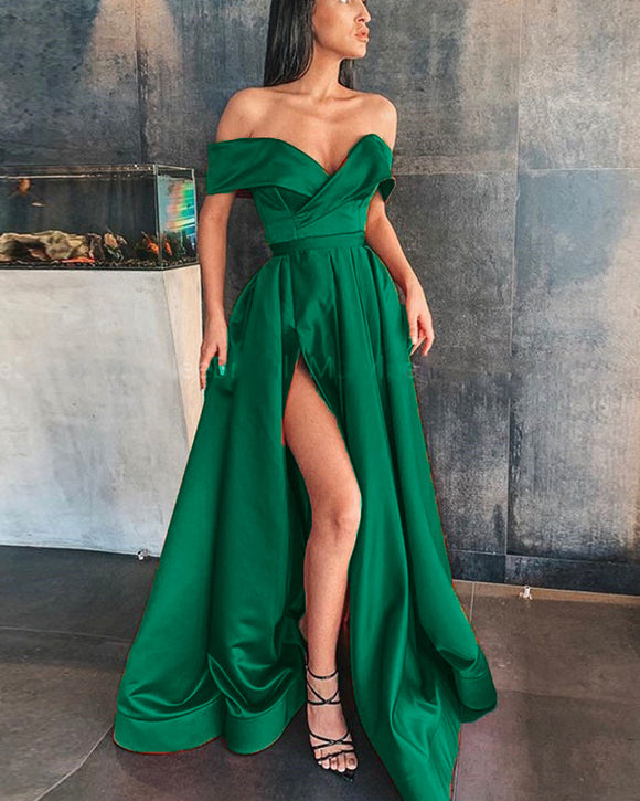 Off Shoulder Satin A Line Hunter Green Prom Dress Long Graduation Gown