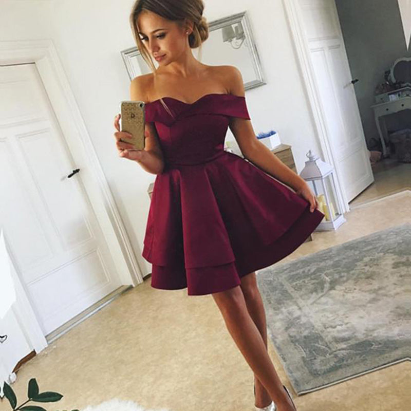 a37c3449050c LP0236 Off the Shoulder Short Prom Dresses Royal Blue Burgundy ...