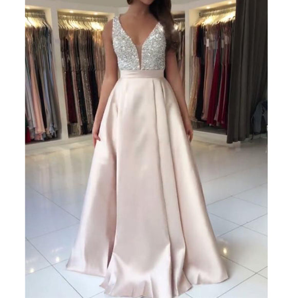 Elegant Graduation Prom Dress A Line Satin Beaded Pearl Pale Pink Girls Formal Evening Gown