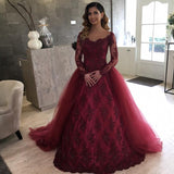 WD2154 Vintage Arabic Style Wedding Dress  Attachable Train ,Burgundy Lace Appliqued Long Sleeves Bride Gown