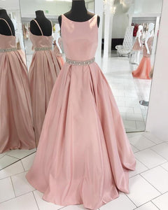 Siaoryne LP0929 A Line Satin Pink Prom Dresses Scoop Neckline with Beading Belt formal Party Dresses