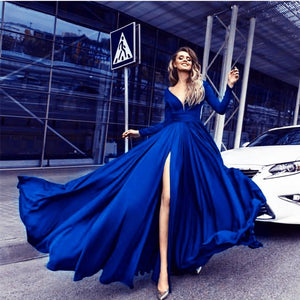 Elegant Long Sleeves V Neck Prom Long Dress Women Evening Gown vestido longo