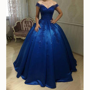off the shoulder ball gown satin blue wedding dress formal gown with lace prom 2018