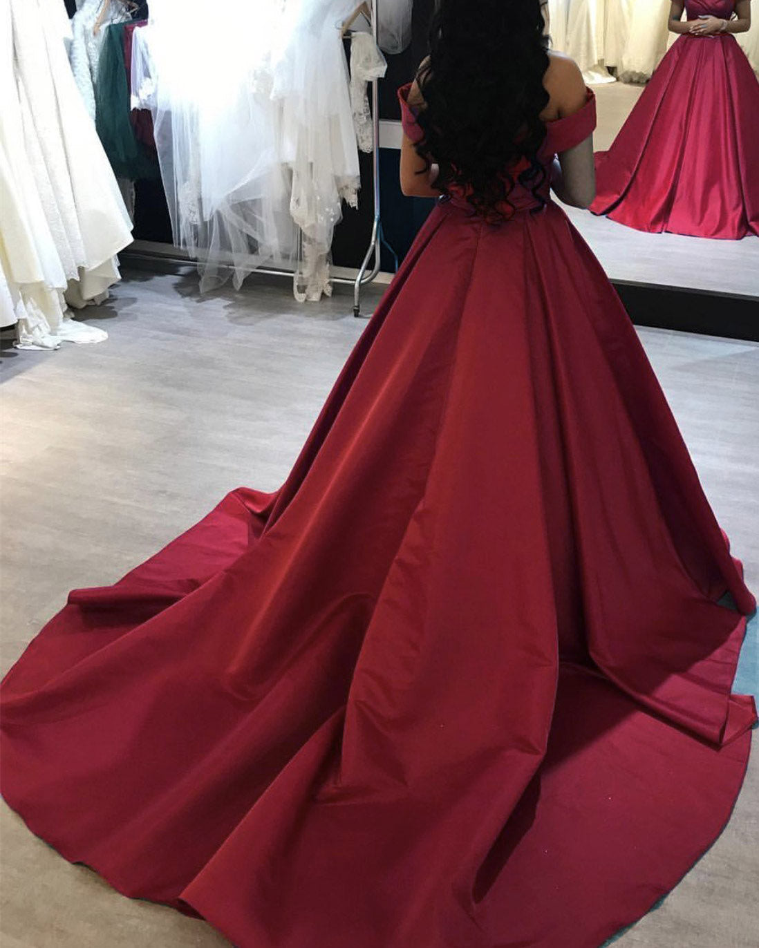 977271d419 Wine Red Off The Shoulder Prom Dress – DACC