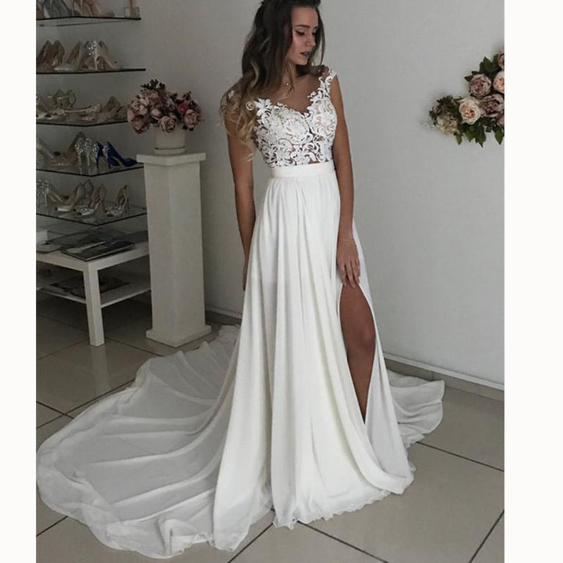 best loved purchase newest hot-selling WD3375 Ivory Chiffon Beach Bridal Dresses 2018 with Lace Appliqued Slit Leg  Sexy Wedding Gown