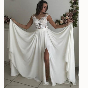 WD3375 Ivory Chiffon Beach Bridal Dresses 2018 with Lace Appliqued Slit Leg Sexy Wedding Gown