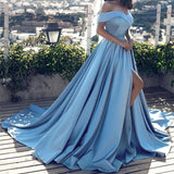 LP1258 Elegant Multi Color Long Evening Dress with Slit,Off the Shoulder Satin A Line Prom Dress 2018