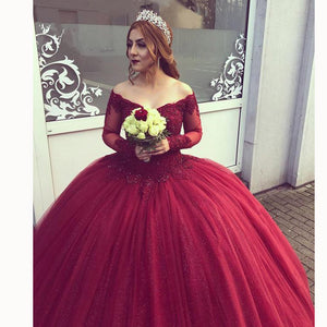 Burgundy Off the Shoulder Lace Princess Ball Gown Wedding Dress with Sleeves Vestido De Novias MO002