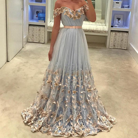 Siaoryne LP0927 Off the Shoulder Flowers Prom Dresses Long Evening Gowns for Junior Girls