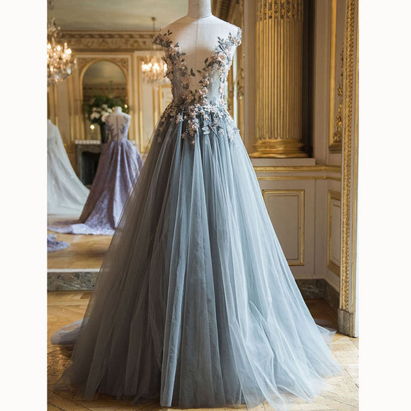 Long Blue Prom Dresses Tulle with Flowers Evening Party Formal Gown 2018