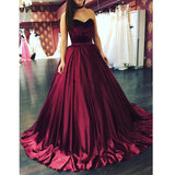 Burgundy Ball Gown Prom Dresses Sweetheart Girls Graduation Dresses Evening Masquerade Gown