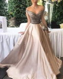 Gorgeous Off Shoulder Beading Women Formal Evening Dresses Long PL877