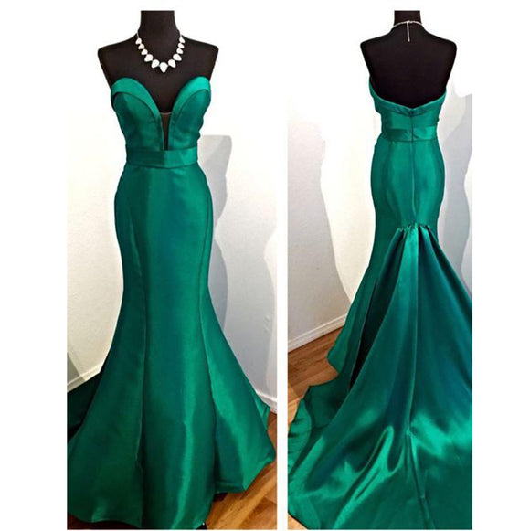High Quality Hunter Green Mermaid Prom Dresses 2018 Long Formal Party Dresses Sweetheart Satin Women Evening Gown LP8802
